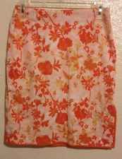 Womens Orange Skirt XS Studio M Pencil Straight Pink Floral Slit Summer Casual
