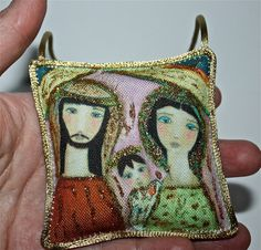Nativity II  Original Art Mini Pillow Handmade by FlorLarios