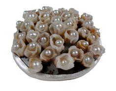 https://flic.kr/p/6beyGL | bursting brooch | steel, cotton muslin, silver, 14k gold, freshwater pearls, beeswax