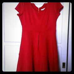 Beautiful red dress Plain red dress made of a scuba like material. Worn only once. Great for a night out! Dress Barn Dresses