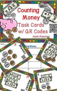 Task cards with money models to help your students practice counting up bills and coins.