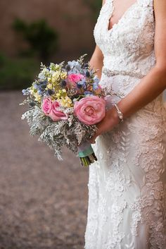 Pastel shabby chic themed outdoor wedding in New Mexico