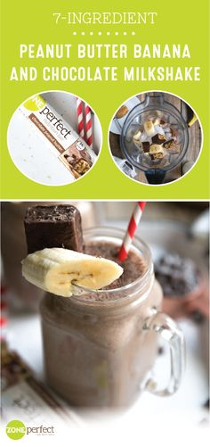 Sipping on a smart and tasty snack has never been easier than with this Peanut Butter Banana and Chocolate Milkshake made with ZonePerfect Chocolate Peanut Butter Nutrition Bars! If you have a New Year's resolution you want to stick to or ar Protein Shake Recipes, Milkshake Recipes, Smoothie Recipes, Peanut Butter Nutrition, Nutrition Bars, Smoothie Drinks, Healthy Smoothies, Healthy Drinks, Yummy Snacks