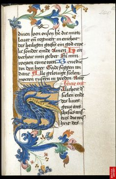 Lettre ornée d'un dragon. Livre d'heures fait en Hollande ou en Allemagne | Dragon initial from a Book of Hours made in the Netherlands or Germany, c.1463-76.