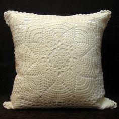 Biatelien crochet and satin pillow cover