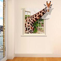 Good Quality Giraffe Pattern Window Shape Removeable 3D Wall Sticker - COLORMIX
