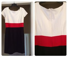HP Bloomingdales color block dress Striking red/white/black color block dress. Worn only a handful of times. Really flattering and comfortable and can be worn year round with black stockings and a blazer in the winter and on it's own in the summer with work heels or flats. It's a great go-to when you don't have time to choose a work outfit in the morning! Throw it on and go! Bloomingdales Dresses