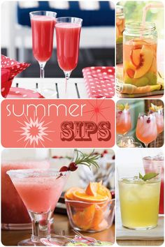 Peach Summer Sangria, Watermelon Berry Sparkler, Frozen Cranberry Margaritas, Basil Lemonade, and Pink Lemonade Cocktail :) yay summer!!