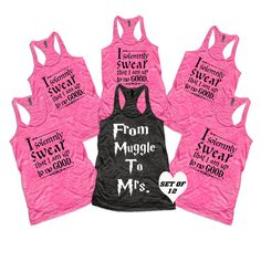 12 wedding tank tops, Bachelorette party shirts, choose color and sizes, from muggle to mrs, bridesmaid tanks,
