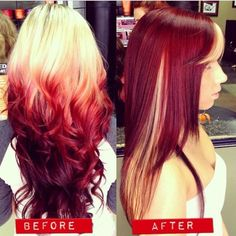 before and after, Blonde and red hair, hair colors, two toned hair color Looks beautiful Love Hair, Great Hair, Gorgeous Hair, Looks Style, Looks Cool, Grey Balayage, Red To Blonde, Blonde Chunks, Platinum Blonde
