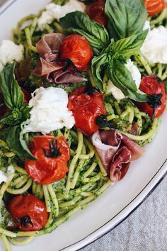 Caprese Pasta with Roasted Tomatoes and Burrata