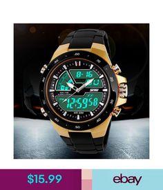 Wristwatches Men's Dual Time Zones Multifunctional Analog Digital Led Sports Wrist Watch #ebay #Fashion