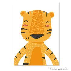 Cute Tiger print Tiger Nursery Art Baby room Cute by MartaMunte