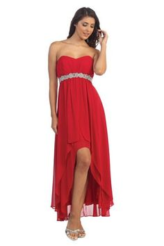 High low strapless sweetheart neckline short party prom dress featuring pleated bodice with sequins embellishment on waistline.