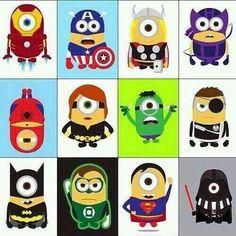 Super Heroes--minions in costume, so cute.