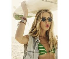 Surfer Girl Looks We Love: Little Surfer Girl. Pair a jean vest with a bikini top to take your look from surf to sand. #SelfMagazine
