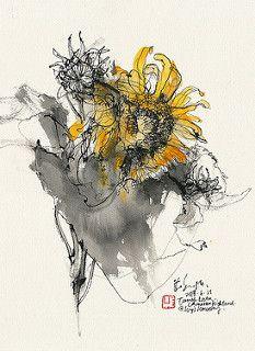 20180623 Sunflowers, Tanah Rata, Cameron Highland I Botanical Drawings, Botanical Art, Watercolor Sketch, Watercolor Illustration, Abstract Flowers, Watercolor Flowers, Tree Drawings Pencil, Nature Sketch, Sunflower Art