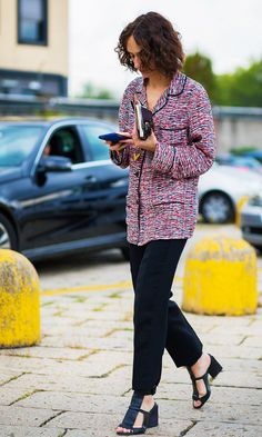 Nicole Phelps after Gucci fashion show at Milan Fashion Week