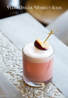 Plum Ginger Whiskey Sour Recipe #cocktails #fall
