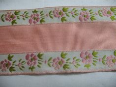 VINTAGE PINK and WHITE adge embroidered with fowers in by Toide, $3.40