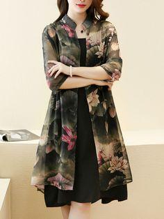 Band Collar Lotus Printed Chiffon Two-Piece Shift Dress