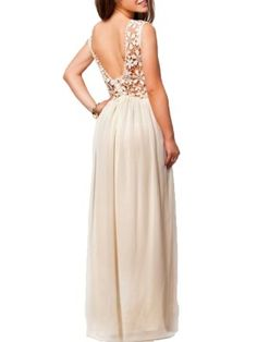 Shop Beige Sleeveless Crochet Lace Backless Maxi Dress from choies.com .Free shipping Worldwide.$24.99