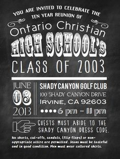 High School Reunion Invite.   Chalkboard typography invite by Molly Meester Designs www.mollymeesterdesigns.com