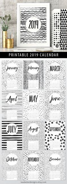 2019 Printable Calendar A4 Instant Download 12 Month New 2018 Printable Calendar, Diy Calendar, Desktop Calendar, Desk Calendars, Printable Planner, Printables, Wall Calender, Paper Design, Diy Design
