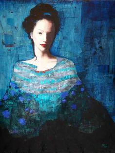 Richard Burlet / To Klimt Figure Painting, Painting & Drawing, Woman Painting, Richard Burlet, Kunst Online, Illustration Art, Illustrations, Blue Art, Claude Monet