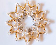 Set of Twelve Luxurious Beaded Golden Snowflake Christmas Decorations/Ornaments