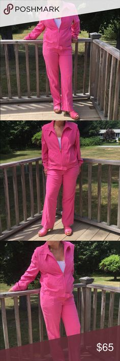Pink silk suit Cute pink women's petite Ralph Lauren matching jacket and pants. Pants are 8p and jacket is an M petite. Jacket is a bit big on model and they both need to be steamed. This has hardly been worn. Ralph Lauren Other