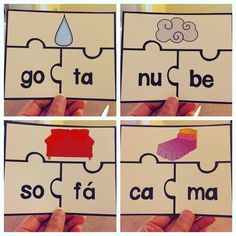 Rompecabezas de palabras de dos silabas. Ideal para aprender a leer en espanol