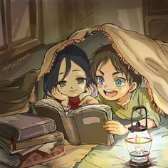 What a cute romantic tale this artwork tells. I like the idea of hiding under a blanket with my beau and reading books by lamp or firelight. This is very well drawn and colored too.