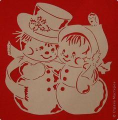 Картина панно рисунок Новый год Вырезание С нежная парочка Бумага фото 1