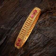 Design No. 116882 Colour Ruby Polish Gold Base Metal Pure Silver Stone Spinal Weight (gms) 14 Size or Length (cm) - Product Detail Fixed Gold Bangles For Women, Gold Bangles Design, Gold Plated Bangles, Hand Jewelry, India Jewelry, Temple Jewellery, Gold Mangalsutra Designs, Silver Jewellery Online, Bridal Bangles