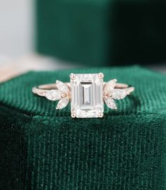 Emerald cut Moissanite engagement ring vintage Unique rose gold Marquise cut diamond Cluster engagement ring for women wedding Bridal gift Emerald Cut Diamond Engagement Ring, Emerald Cut Rings, Emerald Cut Diamonds, Vintage Engagement Rings, Vintage Rings, Diamond Cuts, Thick Band Engagement Ring, Emerald Ring Vintage, Diamond Cluster Ring