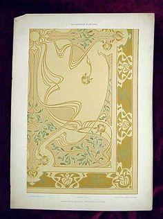 "Art Nouveau Antique Decorative Arts from The Drawing Room Antiques of John and Rico in Newport Rhode Island Print 2. Title: ""Moderner Plafond"" Other notations: ""Dekorative Vorbilder XIV"" ""A. Gatternich, Stuggart"" ""Verlag von Jul. Hoffmann, Stuttgart"" ""Nach Einem Aquarell Von Prof. G. Sturm"""