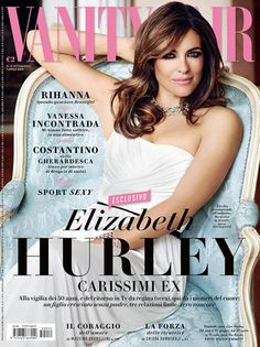 Vanity Fair Italy April issue cover story featuring Elizabeth Hurley Photographed by Simon Emmett Makeup by Kelly Cornwell Nails by Jenni Draper Premier Hair and Makeup Elizabeth Hurley, Cool Magazine, Magazine Covers, Tapas, Vanity Fair Italia, I Got U, Vanity Fair Magazine, Graydon Carter, Country Magazine