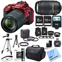 Nikon D5500 Red DSLR Camera 18-140mm Lens, 55-300 Lens, Lens Set, and Flash Bundle – Includes Camera 18-140mm Lens, 55-300mm Lens, Memory Cards, Gadget Bag, Tripods, Flash, Filter Kit and More