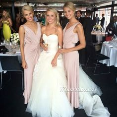 Okay does the bride not look like breanna west? Bridesmaids And Groomsmen, Wedding Bridesmaids, Wedding Dresses, Blush Pink Bridesmaid Dresses, Bridesmaid Color, White Runway, Essense Of Australia, Groom Dress, Bridal Gowns