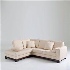 Canapé d'angle, fixe ou convertible, cuir véritable, Edwin