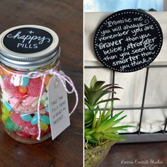 """happy pills"" - candies in a jars - gift idea to make with the kids to give to friends that are sick (ie. broken arm and can't play on the soccer team for the rest of the summer)"