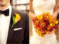 Orange/red lilies, orchids, and pincushion flowers for the bouquet; a simple calla lily as a boutonnière... The reds and oranges provide a striking contrast to black and white theme in a more formal wedding.