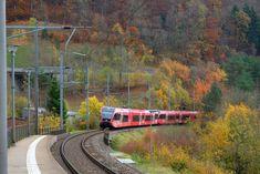 A modern train from SBB arrives at Frinvillier-Taubenloch train station in the Jura while leaves already go fall colours. Swiss Railways, Train Station, Colours, Fall, Modern, Law School, Fall Season, Autumn