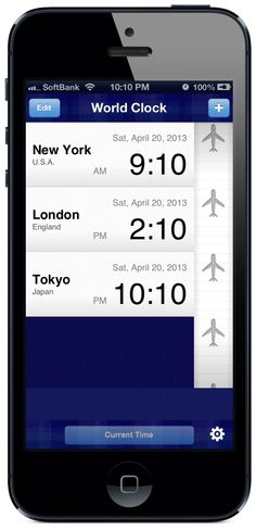 """""""World Clock"""" is an application that displays a list of the times in several cities around the world. #iPhone #App"""