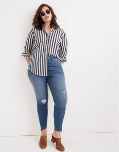 (Love this top, but would look better with black bottoms - a nice black and white outfit) Madewell Taller Curvy High-Rise Skinny Jeans: Drop Step-Hem Edition Curvy Girl Outfits, Casual Outfits, Fashion Outfits, Fashion Ideas, Casual Jeans, Clubbing Outfits Plus Size, Fashion Trends, Fashion Clothes, Jeans Fashion