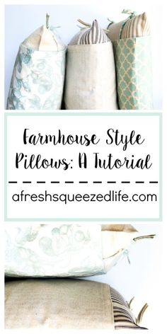 Making your own Farmhouse-Style Pillows is simpler than you think! A sewing machine, some fabric and a bit of patience are all you need to make them yourself. This tutorial will walk you through the process, step by step! afreshsqueezedlife.com