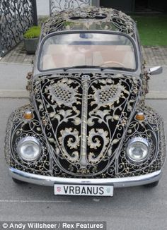 Not just any old iron! The unique Volkswagen Beetle that's been customised to look like an ornate metal gate Working in secret for Croatian company MG Vrbanus, three craftsmen painstakingly handmade the body ready to be mounted onto a VW Beetle frame. My Dream Car, Dream Cars, Combi Wv, Beetle Car, Cute Cars, Vw Bus, Vw Camper, Volkswagen Golf, Stitching Leather
