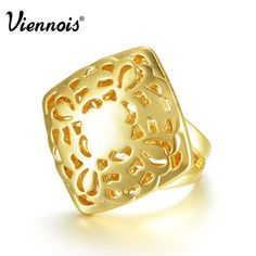 Viennois 18K  Gold GP Fashion Women Hollow-out Flower Cocktail Ring SZ 7-8 #Viennois #Cocktail