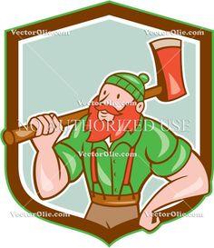 Paul Bunyan LumberJack Shield Cartoon Cartoon Stock Illustration